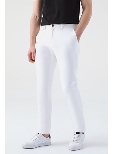 TWN Slim Fit Armürlü Chino Pantolon Beyaz